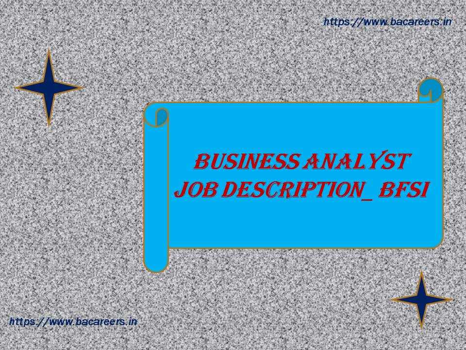 Business Analyst Job Description BFSI